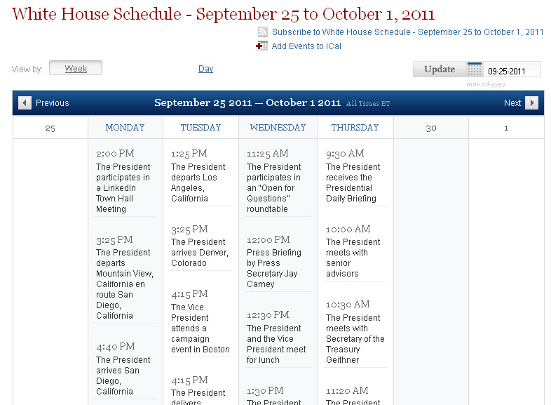 WH Sept Schedule