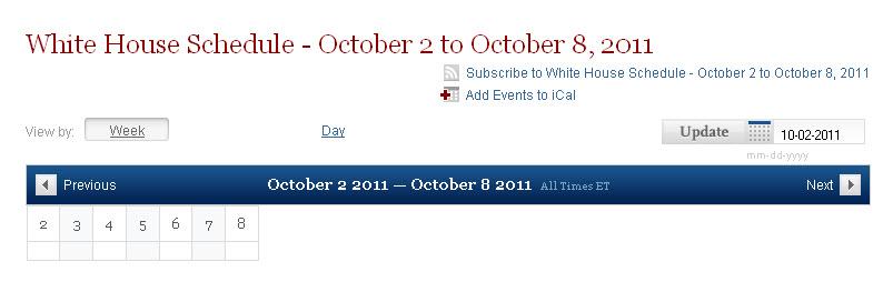 October WH Schedule