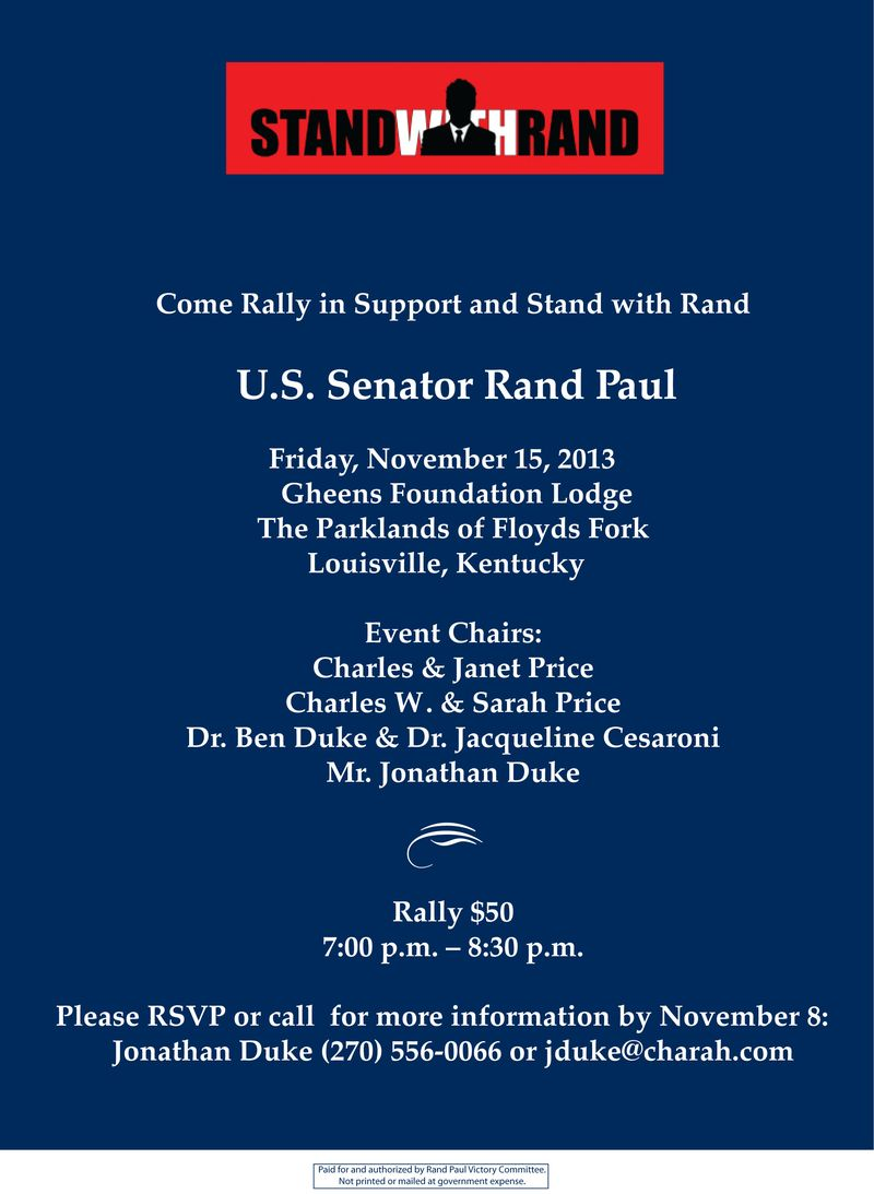 Stand With Rand Rally Invite